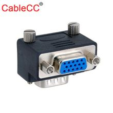 Cablecc 90 Degree Down Right Angled VGA SVGA Male To 15Pin Female Monitor Adapter for PC Laptop TV