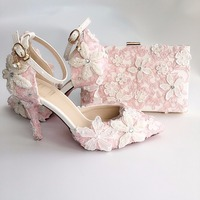 Shoes Woman Light Blue Lace Pearl Flower Bride Wedding Shoes Pointed Toe High Heels 9cm Sapato Feminino Sandalias Mujer 2019
