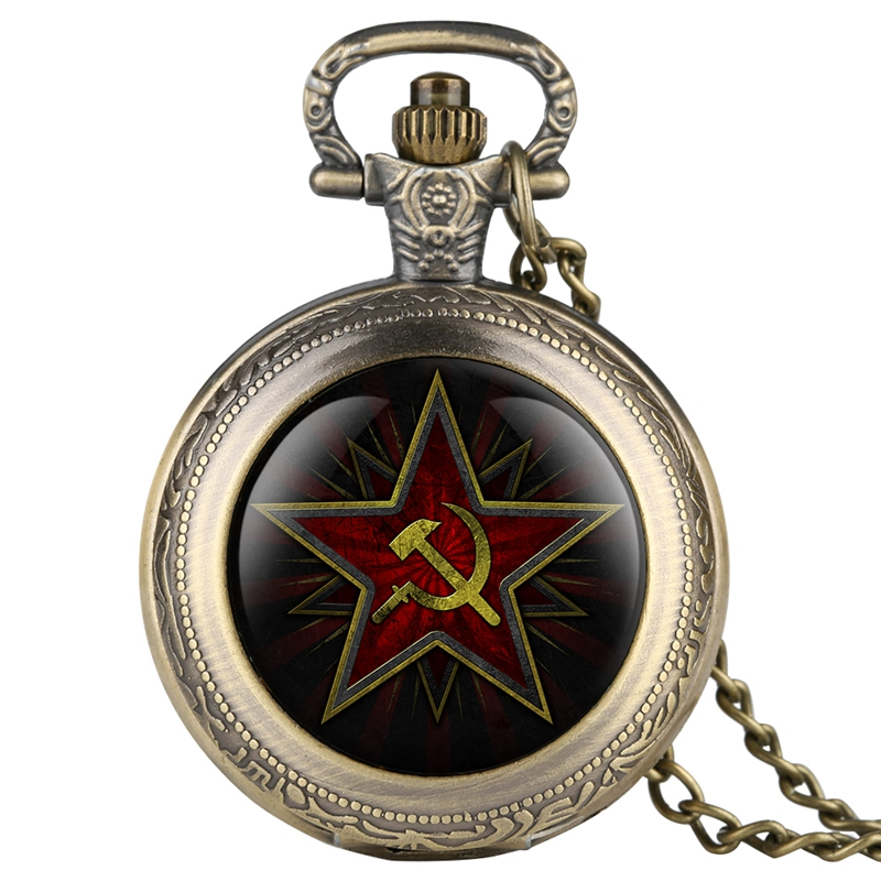 Pentagram Party Emblem USSR Soviet Badges Hammer Sickle Black Quartz Pocket Watch Russian Army CCCP Communism Clock Watch Unisex