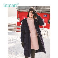 INMAN Winter New Arrival Hooded Windproof Light Korean Long Section Woman Down Coat