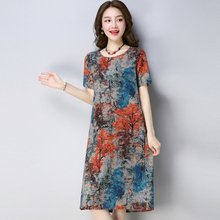 Women Summer Dress Retro O-neck Short Sleeve Printing Dresses Ladies Casual Cotton Linen Party Dress Vestidos short sleeve white lotus printing o neck women dresses casual cotton linen knee length dress vestidos summer plus size
