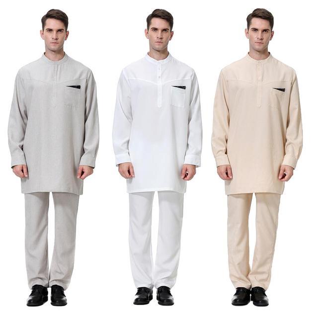 Uomini islamici Jubba Thobe Abito Caftano Vestito Arabo Musulmano 2 PCS Set Abaya Jilbab Pantaloni Vestaglie Arabia Dubai Set Medio orientale di Ramadan