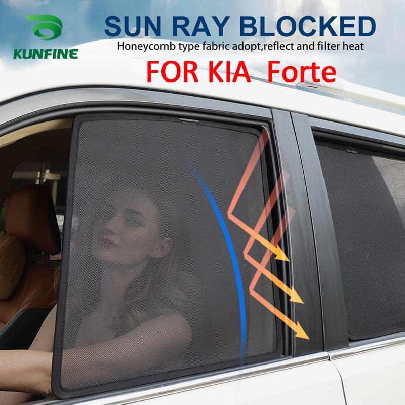4 pièces/ensemble magnétique voiture côté fenêtre pare-soleil maille ombre aveugle pour KIA Forte voiture fenêtre Curtian noir