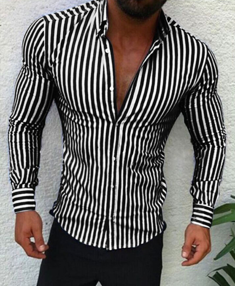 Shirts 2018 New Brand Fashion Men Luxury Stylish Striped Button Casual Dress Shirts Long Sleeve Slim Fit Shirts