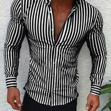 d5cab89e6 Camisas 2018 nueva marca de moda hombres de lujo elegante rayas botón Casual  vestido Camisas manga larga ajustado Fit camisas