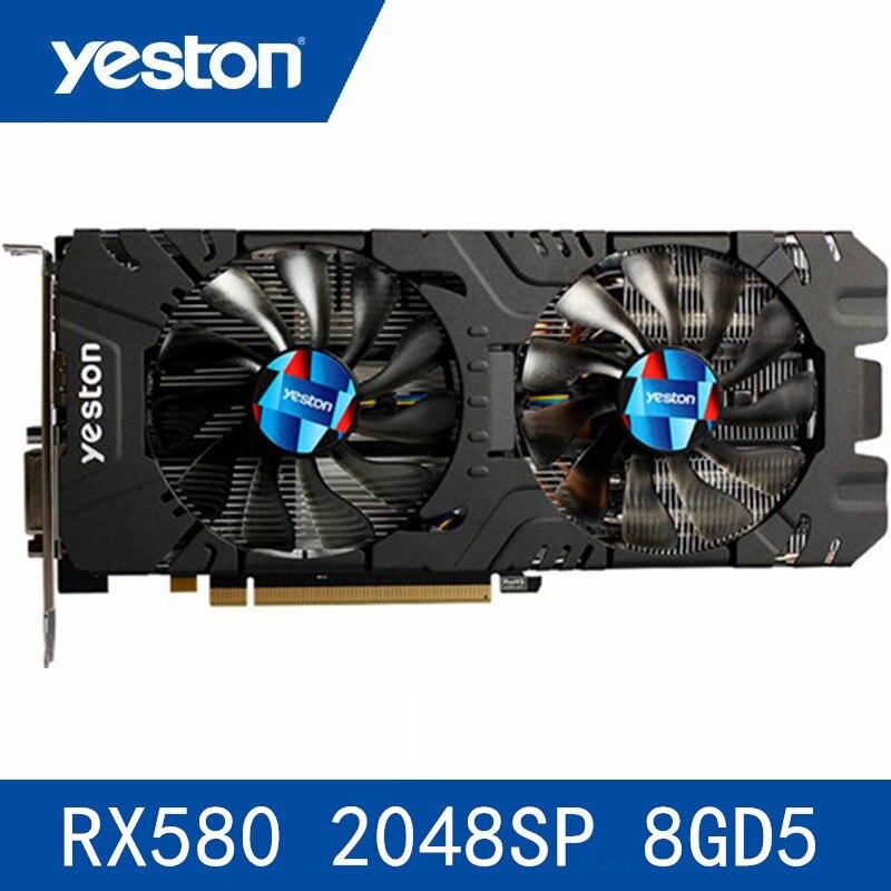 Yeston Radeon Rx580 2048 Sp-8G Gddr5 Pci Express X16 3.0 carte graphique de jeu vidéo carte graphique externe pour bureau