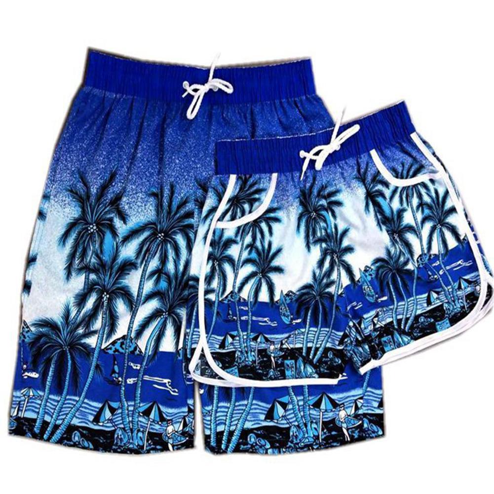 MISSKY 2pcs/set Male Lovers Summer Shorts Coconut Tree Pattern Shorts Summer Beach Pants For Men Women