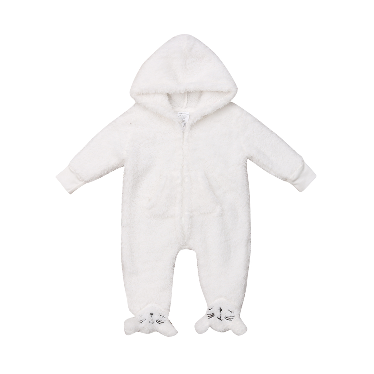 Newborn Baby Boy Girl Clothing Hooded Romper Warm Long Sleeve White Jumpsuit Outfits Set Clothes Baby Girls 0-12M