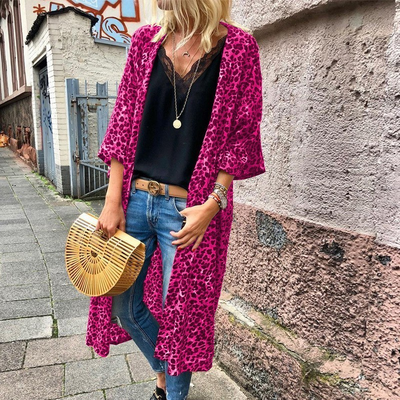Try Everything Red Leopard Cardigan Women Long Sleeve Ladies Cardigans Of Large Sizes Loose Casual Summer Long Cardigan Female Платье