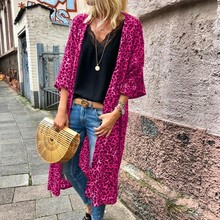 Try Everything Red Leopard Cardigan Women Long Sleeve Ladies Cardigans Of Large Sizes Loose Casual Summer Female