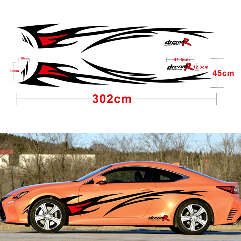 Car styling Racing Flame Graphics Car Stickers Auto Body Decor Cover Decals for FORD FOCUS 2 VW KIA RIO MAZDA 3 SKODA CRUZE-in Car Stickers from Automobiles & Motorcycles