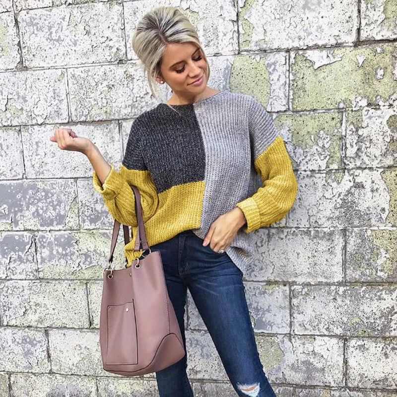 100% QualitäT Heiße Frauen Casual Langarm Gestrickte Pullover Pullover Lose Jumper Tops Strickwaren Winter Farbe Patchwork Oansatz Pullover Mode Weniger Teuer