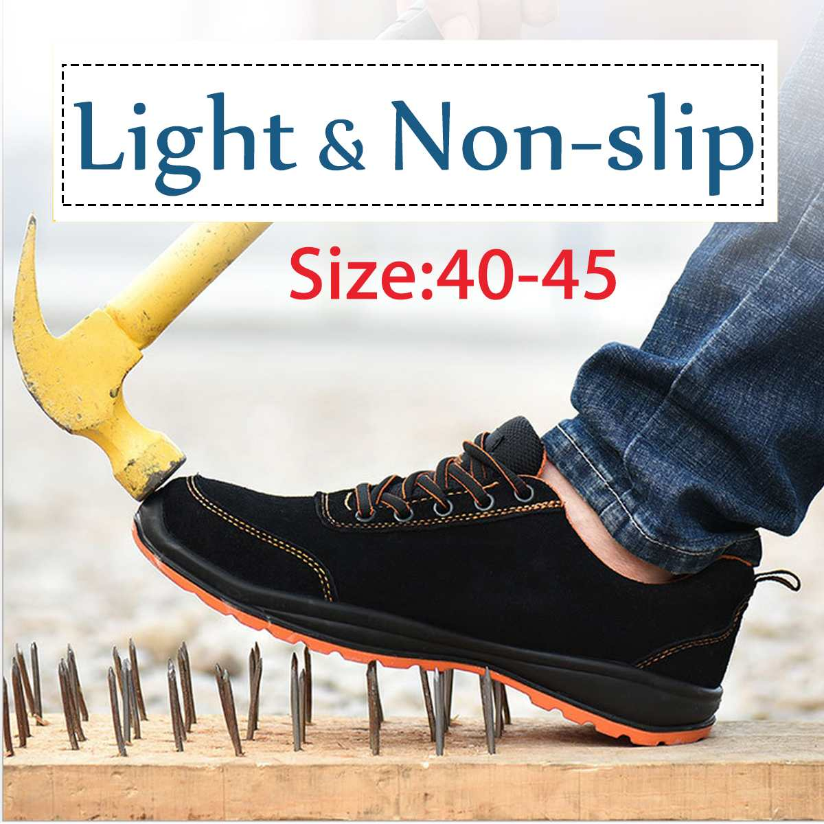 Men Outdoor Anti-slip Steel Toe Cap Work Safety Shoes Anti-puncture Breathable Construction Safety Boots Shoes 40 41 42 43 44 45