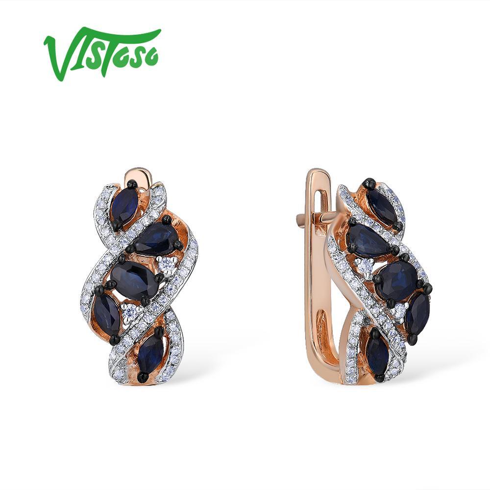 Boucles d'oreilles VISTOSO or pour femmes 14K 585 or Rose étincelant bleu saphir luxe diamant alliance anniversaire Fine bijoux