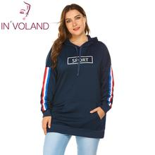 IN'VOLAND Plus Size Hoodies Pullover Hooded Autumn Winter Casual Letters Print L