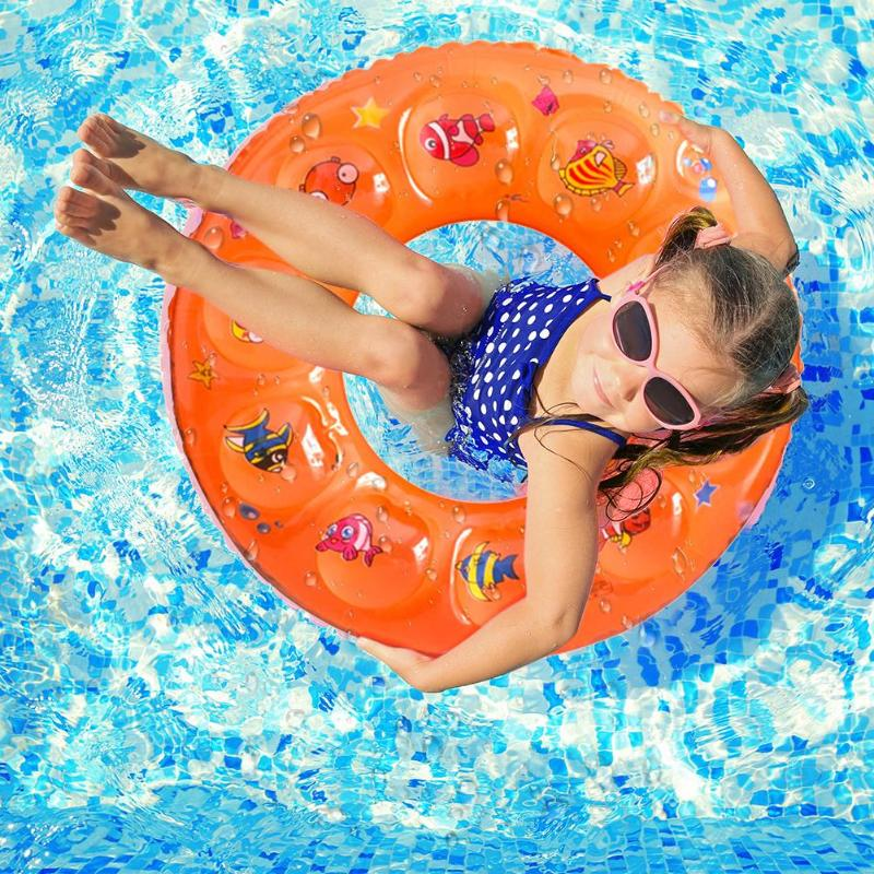 50/60/70cm Summer Swimming Circles Random Color Cartoon Baby Swimming Ring Kids Armpit Float Circle Thickened Bathing Ring