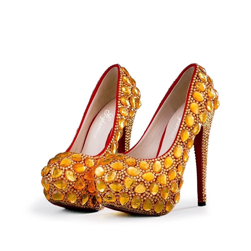 Customized Gold Rhinestone Platform Heels Plus Size Bride Dress Shoes Fomral Dress Shoes Banquet Evening Party Pumps with ClutchCustomized Gold Rhinestone Platform Heels Plus Size Bride Dress Shoes Fomral Dress Shoes Banquet Evening Party Pumps with Clutch