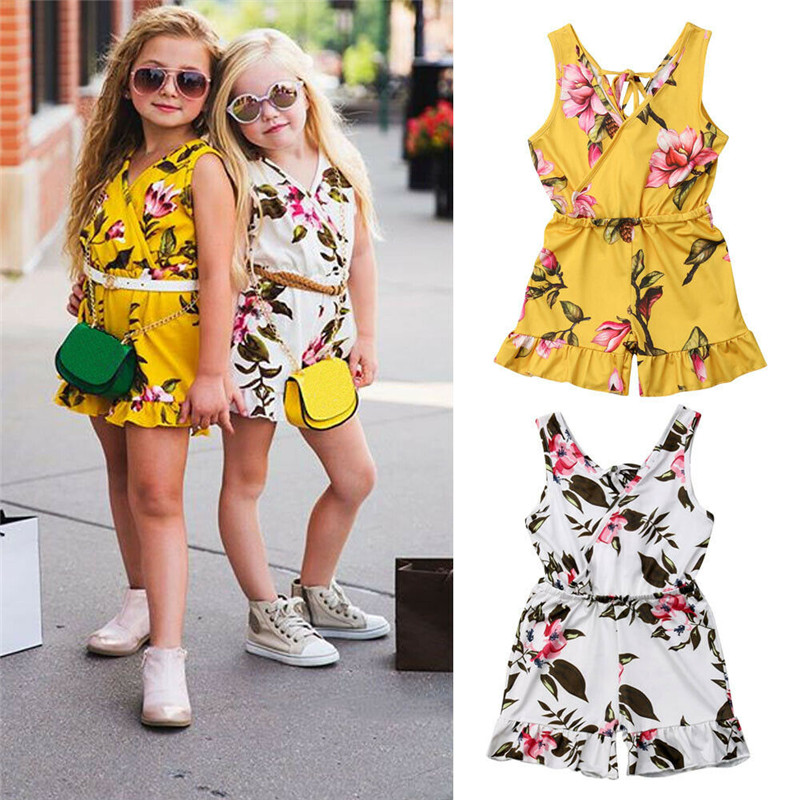 Cute Brand Baby Girl Romper 2019 New Kid Girl Strap Floral Print Rompers Summer Sunsuit Sleeveless Clothes Outfits