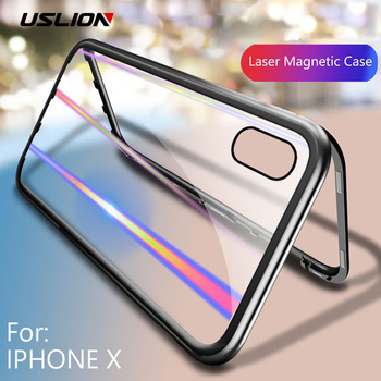 USLION Glitter Later Clear Case For iPhone XS Max XR X Magnetic Phone Case for iPhone 7 6 6s 8 Plus Transparent Hard Glass Cover iPhone XS