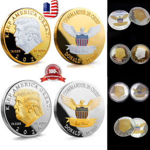 1PCS Trump Of 2020 Keep America Great Two Color Proof Like 40MM Coins New Cool Trump Commemorative Coin Collecting Coins