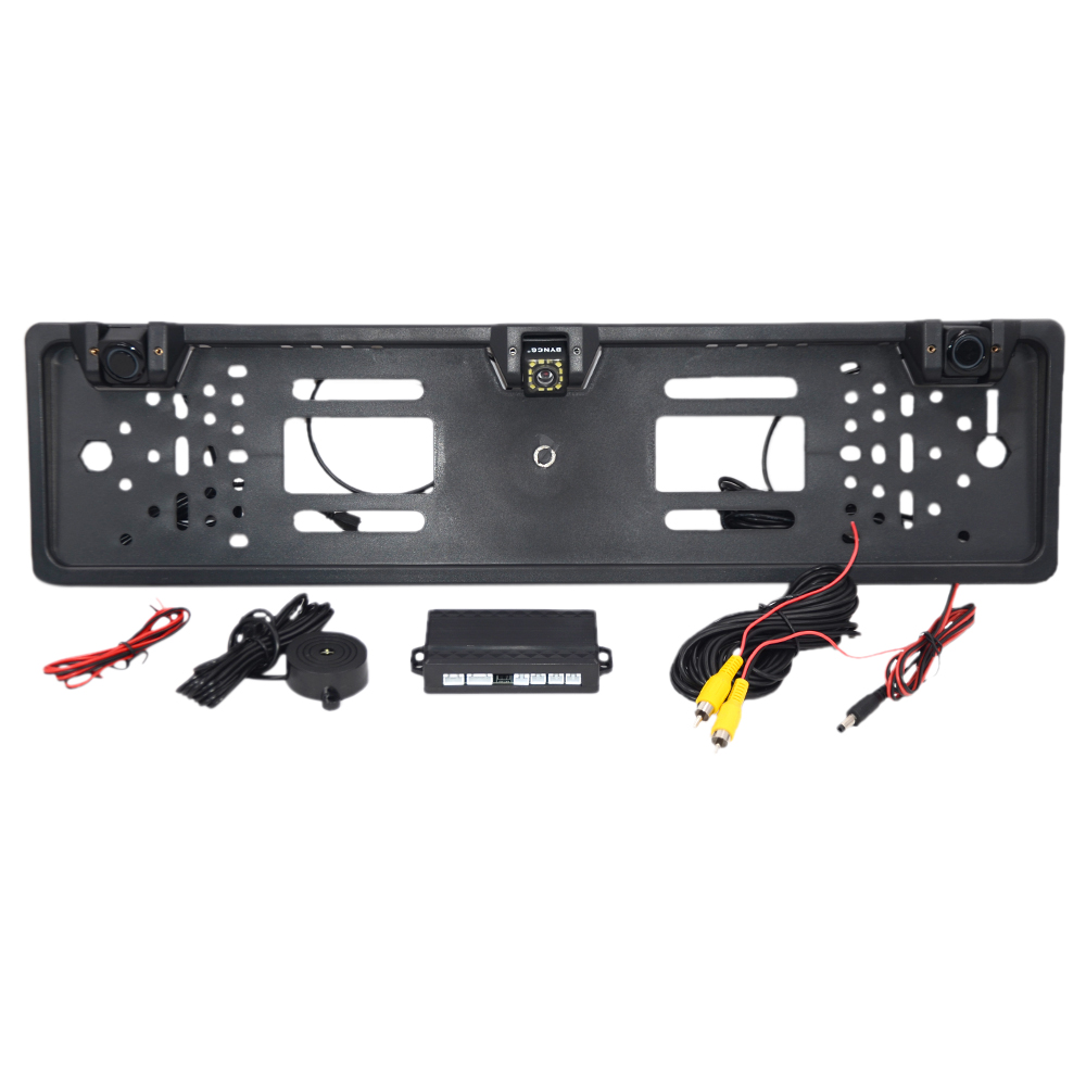 HD Rearview Camera Car European License Plate Frame Camera Light 12 LED 170 Backup Reverse Camera IR With 2 Parking Sensor