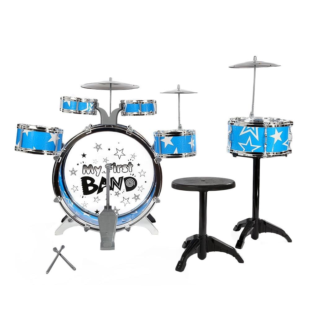 Kit de batterie pour enfants Instrument de musique jouet avec cymbales tabouret cadeau d'anniversaire de noël