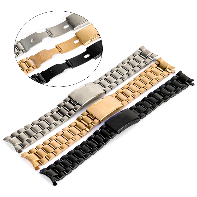 Men Watch Band Strap Stainless Stell Deployment Clasp Wrist Wristwatch Band 3 Colors Women Curved End Watchband 18/20/22/24mm