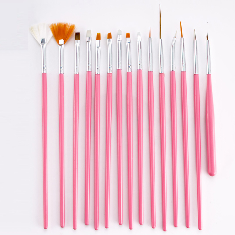 15pcs Plastic Soft Nylon Hair Painting Brush Watercolor Short Miniature Handle Pull Hook Line Pen Nail Artists Set Art Supplies