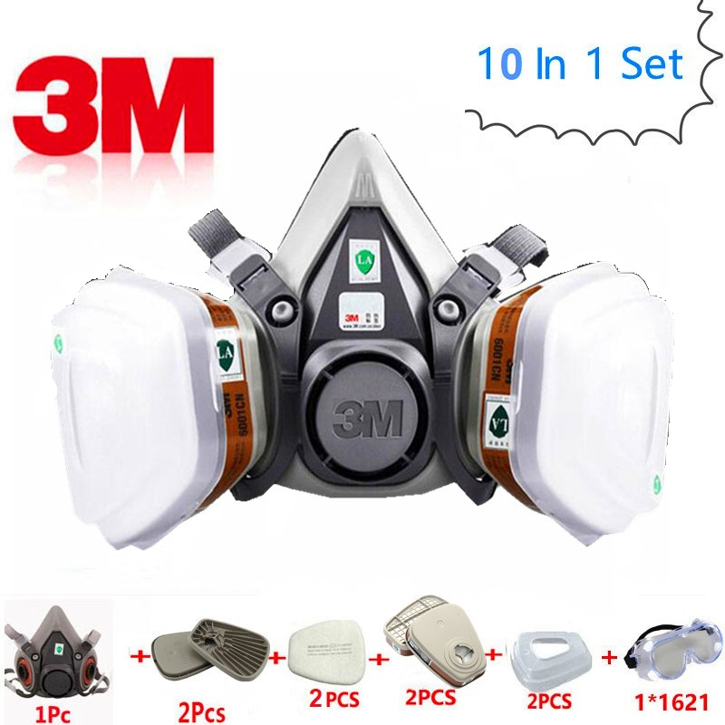 10 in 1 Suit <font><b>3M</b></font> 6200 <font><b>6001</b></font> 603 Safety Military Gas Mask Respirator Protective Industry Sewer Clean Mask Anti Organic Vapor Filter image