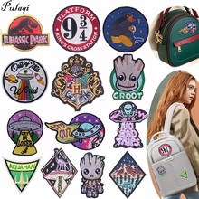 Pulaqi Jurassic Park Patches Decor For Jeans Clothing Sewing On Iron-on Arm Badge Backpack Witchcraft Fabric Stickers DIY H