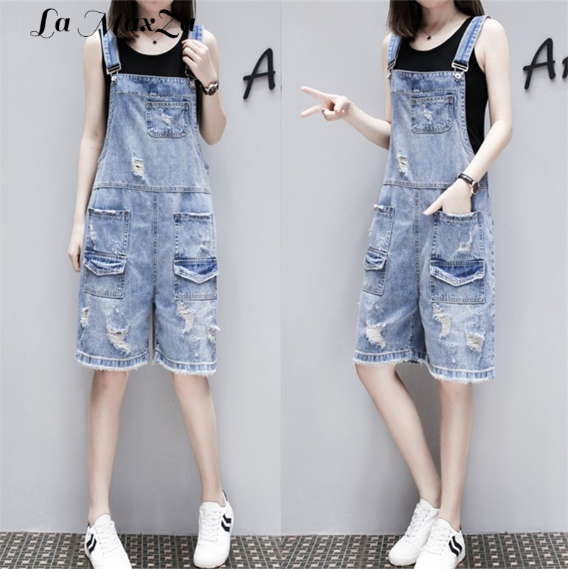 Loose Solid Women Playsuits and Jumpsuits Pockets Fashion Casual Denim Overall Shorts Summer Plus Size Jean Overalls for Women