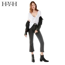 HYH Haoyihui Street Style Simple Fashion Commuting Coat Sexy V-neck Solid Color Short Sleeve Easy To Wear New Arrival T-shirt