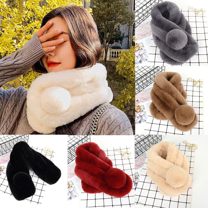 Women Fashion Plush Rex Rabbit Hair Scarf Shawl Thickened Fur Collar Scarf Warm