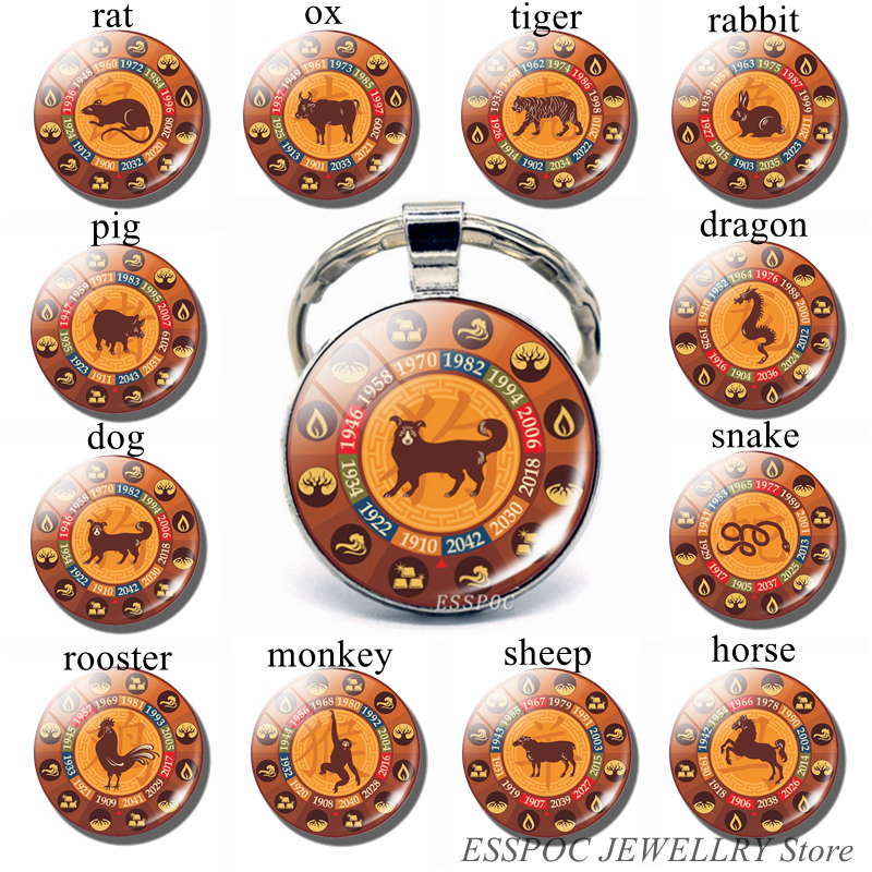 12 Zodiac Sign Photo Key Chain Rat Ox Pendant Glass Cabochon Jewelry Fashion Constellation Keychain Car Keyring Women Best Gifts