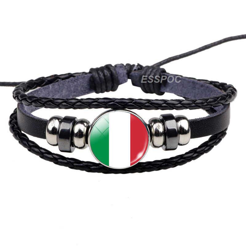 דרום אירופה: פורטוגל יוון ספרד איטליה רומניה דגל שחור צמיד זכוכית כיפת תכשיטי עור כפתור גברים צמיד מתנות