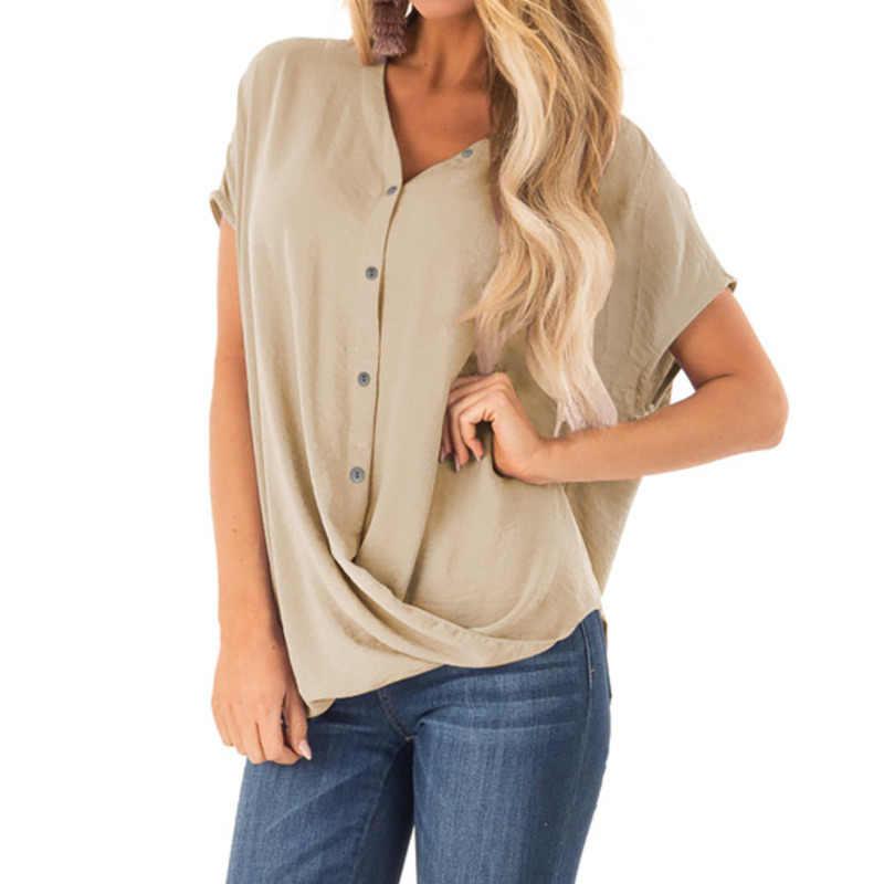 Женские рубашки Летние повседневные шифоновые блузки с v-образным вырезом на пуговицах женские Топы Camisa Feminina с коротким рукавом черные белые женские блузки рубашка