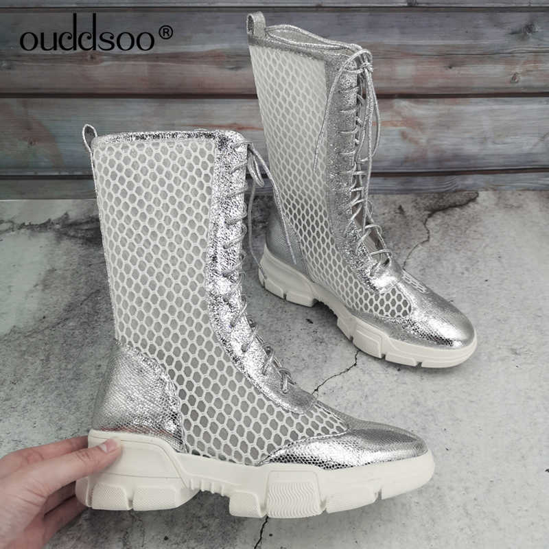 ODS Street Fashion Holle Mesh Laarzen Schoenen Voor Vrouwen Hollow Lage Hak Casual Lady Party Lace up knie hoge zomer Botas Mujer