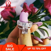 Moonso Sterling Silver 925 Rings For Women 2 Ct Rings 2 Pc Princess Cut Wedding Engagement Jewelry Ring Set R4634S