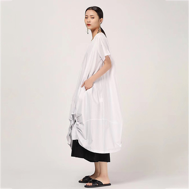 CHICEVER Summer Casual Solid Women Dress O Neck Short Sleeve Draped Split Hem Loose Plus Size Mid Calf Female Dresses 2019 New