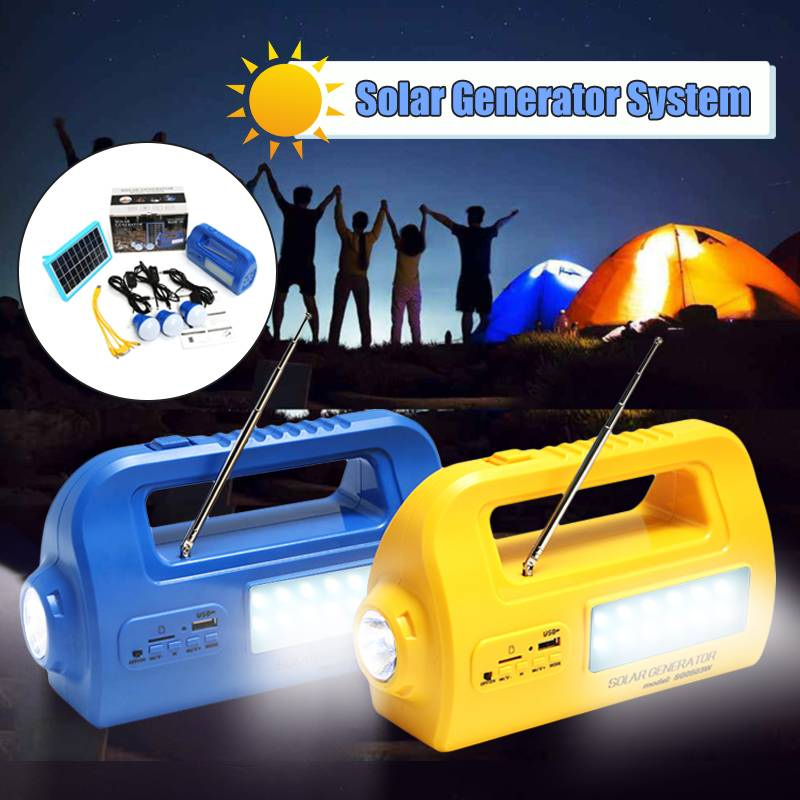 цена на Portable Rechargable Solar Emergency Generator Lighting System USB Charger Power Bank Outdoor Camping Lamp