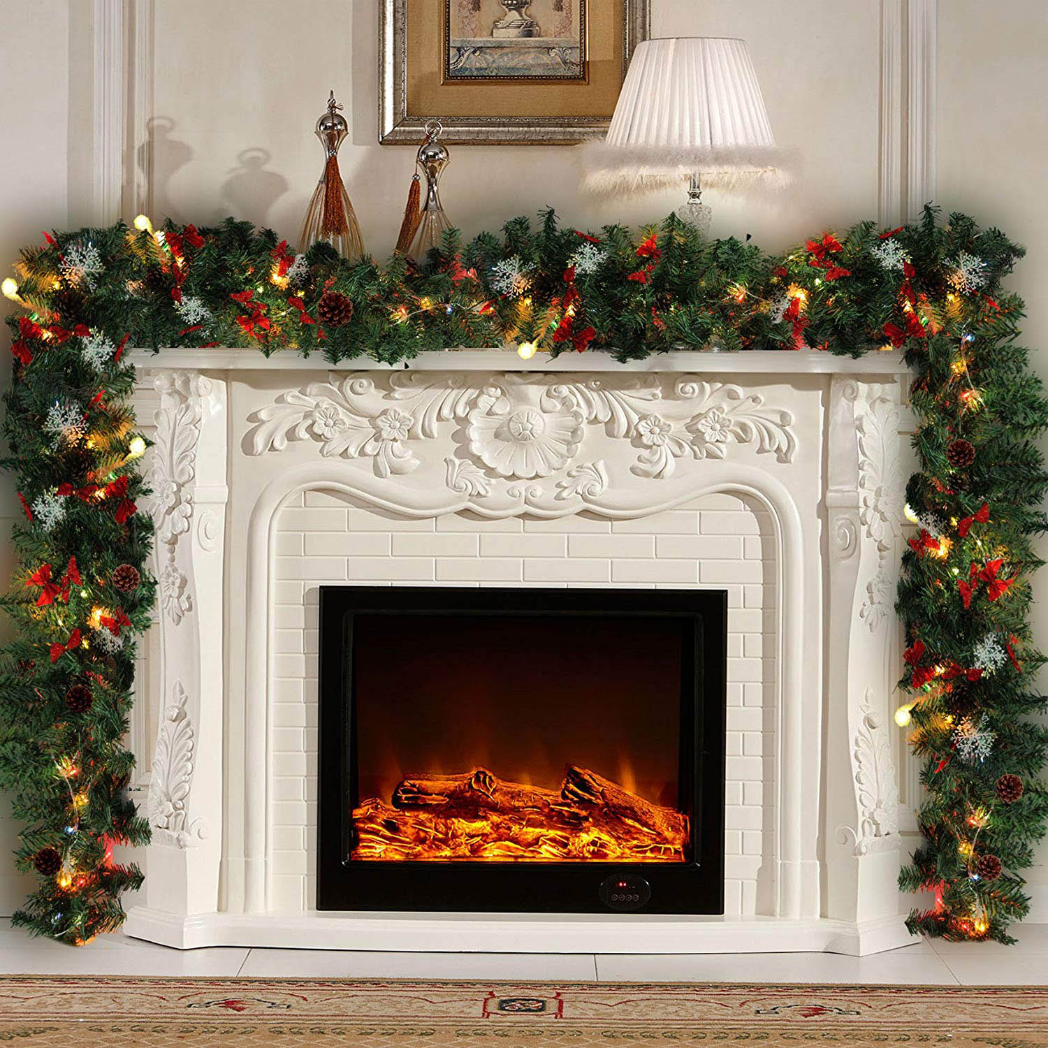 Fireplace Christmas.Us 17 8 13 Off 9ft 270cm Plain Green Christmas Garland With Warm White Led Light Artificial Wreath Fireplace Xmas Tree Decoration Hot In Pendant
