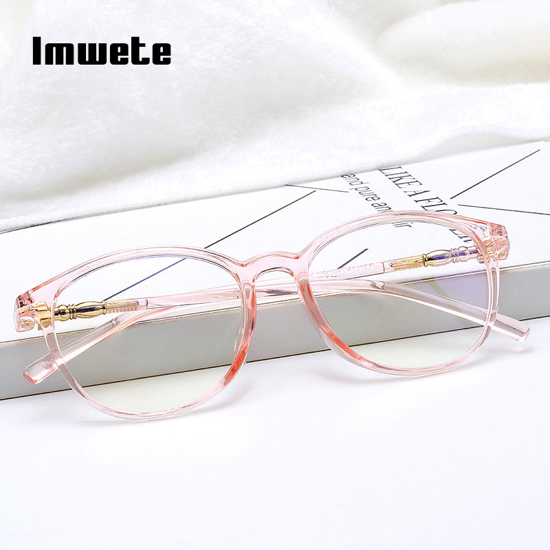 Imwete Clear Glasses Frame For Women Men Vintage Clear Frame Round Spectacle Transparent Optical Glasses Myopic Frames