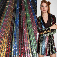 1Yard Upscale Sequins Tulle Lace Fabric Rainbow Color African Net Fabric Tissu French Dress Clothing DIY Accessories 91*130cm