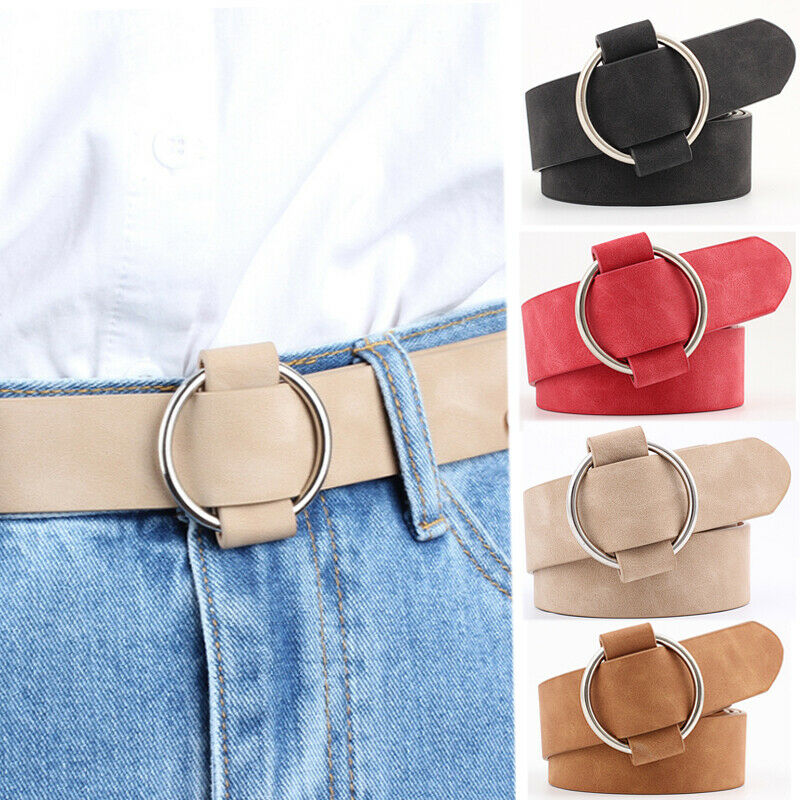 2019 Women's Fashion Pu Leather Round Buckle Waist   Belt   Vintage Metal Lady Waistband Multiple Colors