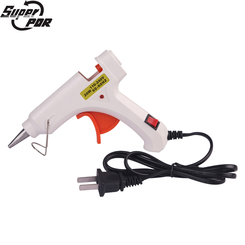 Super PDR Tools Small White Glue Gun 20W US Plug Heat Temperature Tool Guns Thermo Gluegun Pistolet a colle Hot Melt Glue Guns 1pc glue pot 100g italian keratin glue keratin glue bead hot pot glue stove temperature control hair extension styling tools