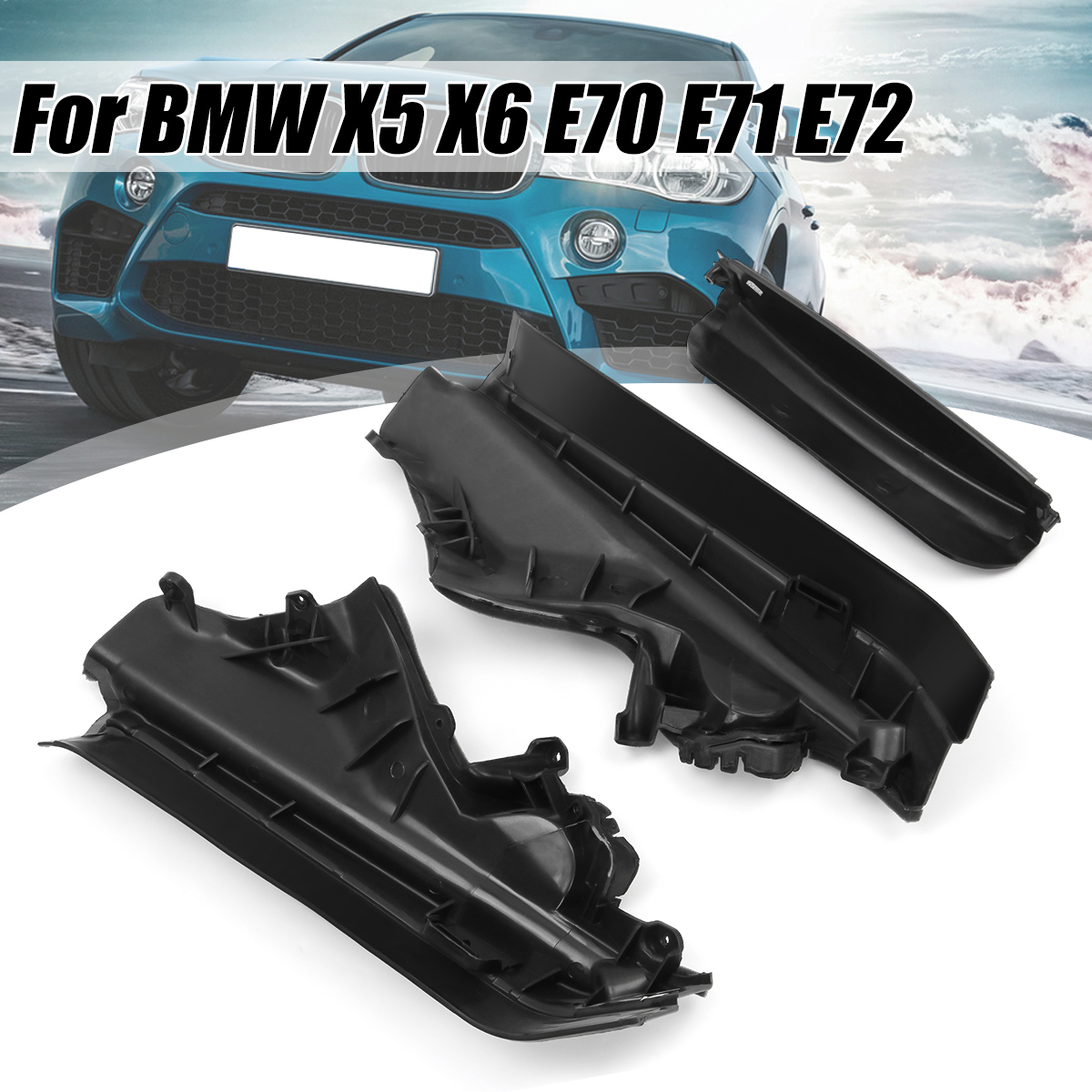 3x Car Engine Upper Compartment Partition Panel Set For BMW X5 X6 E70 Black Plastic 51717169419 51717169420 51717169421