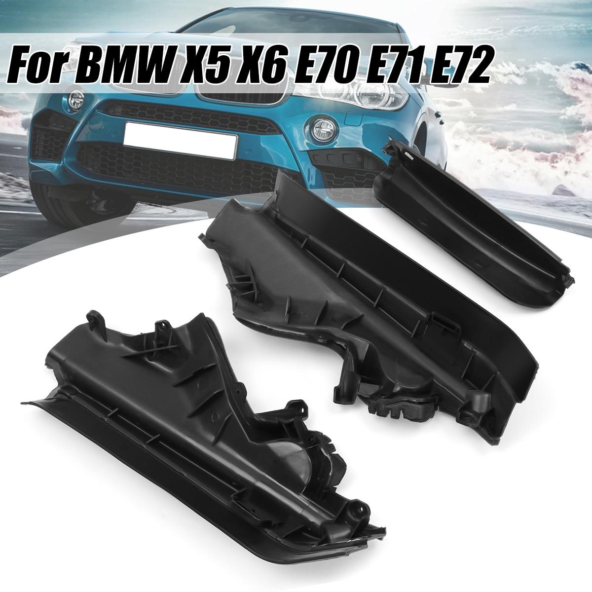 Bmw x5 x6 e70 블랙 플라스틱 용 3x 자동차 엔진 상부 칸막이 파티션 패널 세트 51717169419 51717169420 51717169421