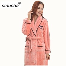 2019 New Hot Sale Robe Sexy Flannel Oversize Nightgown Big Gown Bathrobe Autumn And Winter Thick Long Sleeves Coral Couple S42