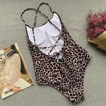 Swimsuit Woman 2019 Sexy Leopard One Piece Swimwear Female Swimsuit High Cut Leg Bathing Suit For Women Swim Wear Beach Suits 4