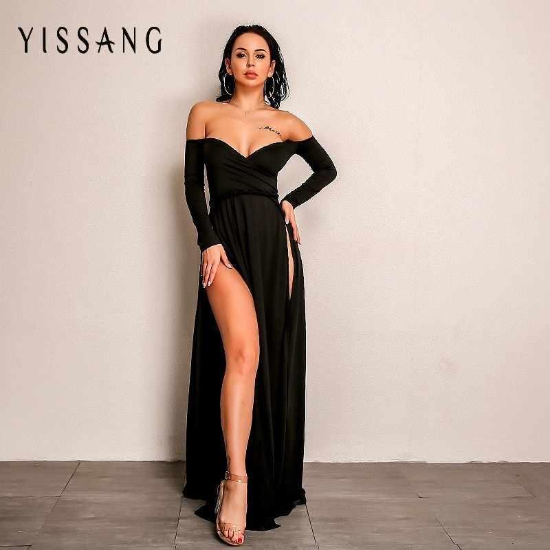 Yissang Vestidos Verano 2018 Sexy Dress Women Slash Neck Elegant Club Maxi  Dresses Long Sleeve Split 3694b10e148f